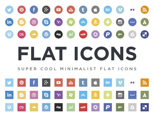 36 Flat Social Icons