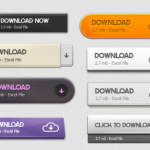 15 Free Web Download Buttons PSD