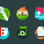 6 Utility Icons Set PSD