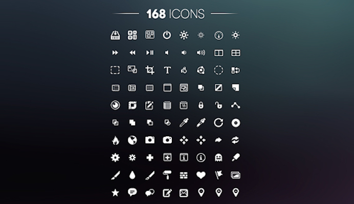 168 Free UI Icons (PSD)
