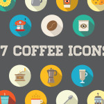 Awesome 27 Flat Vector Coffee Icons PSD