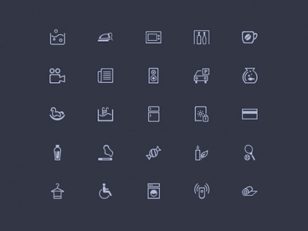 50 Free Amenities Icons PSD