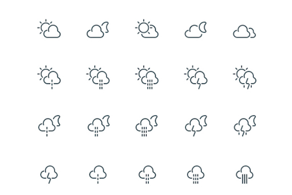 62 Free Weather Outline Icons PSD