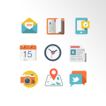 9 Flat Communications Icons PSD