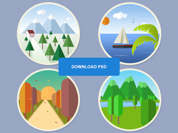 Free 4 Seasons Flat Icons Set (PSD)