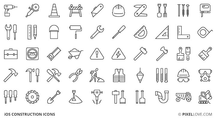 50 Construction Icons for iOS (PSD)