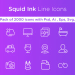 Squid Ink Line Icon Pack - 2000 Icons