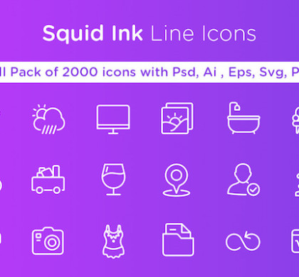 Squid Ink Line Icon Pack – 2000 Icons