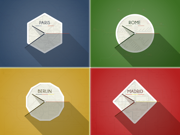 Free European Clocks PSD