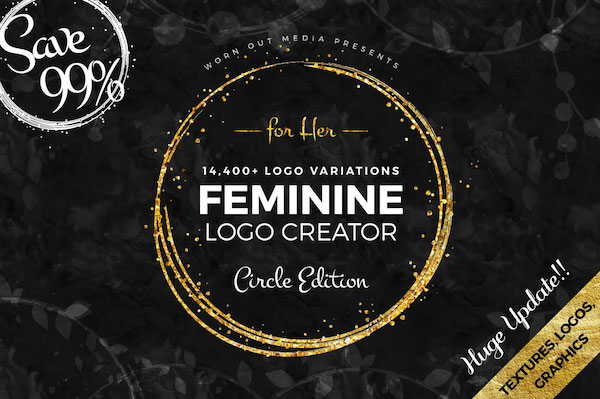 Feminine Logo Creator Circle Edition Mega Bundle