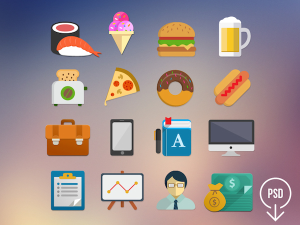 16 Free Flat Icons PSD