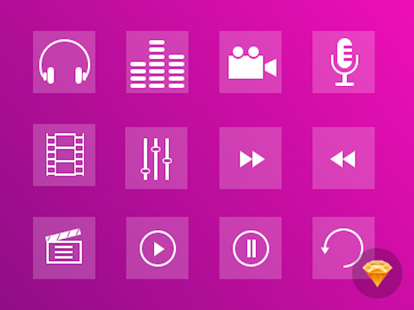 12 Free Multimedia Icons Set (Sketch)