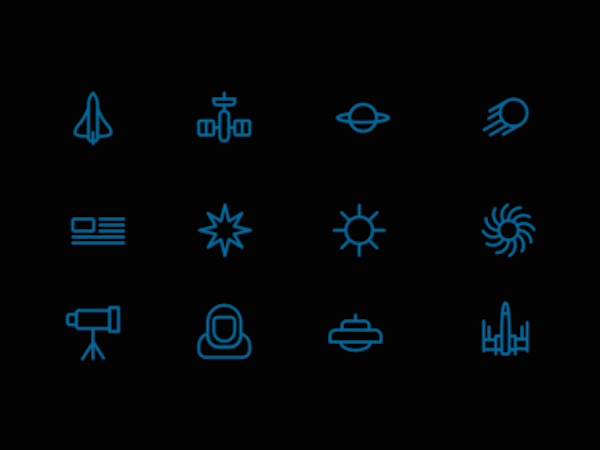 12 Free Space Icons (Sketch)