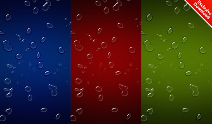 3 Realistic Waterdrop Backgrounds PSD