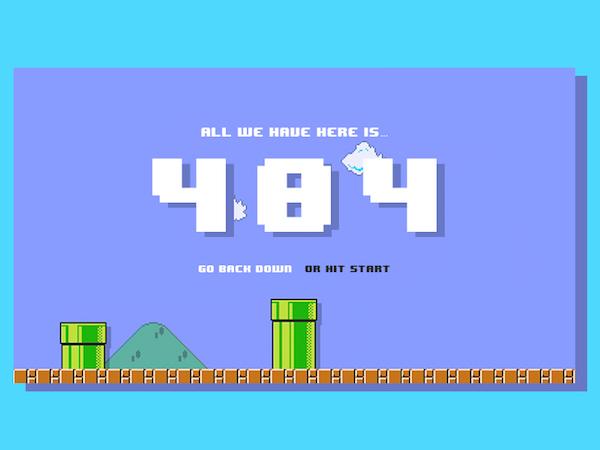 Free 8-bit Super Mario 404 Page PSD
