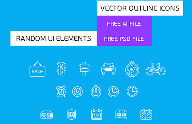 Free Outline Icons and UI Elements (PSD)