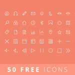 50 Free Vector Line Icons PSD