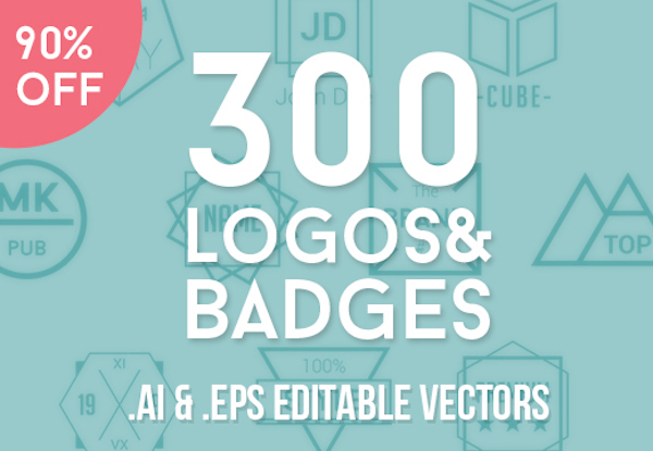 300 Fully Customizable Logos and Badges for Only $15