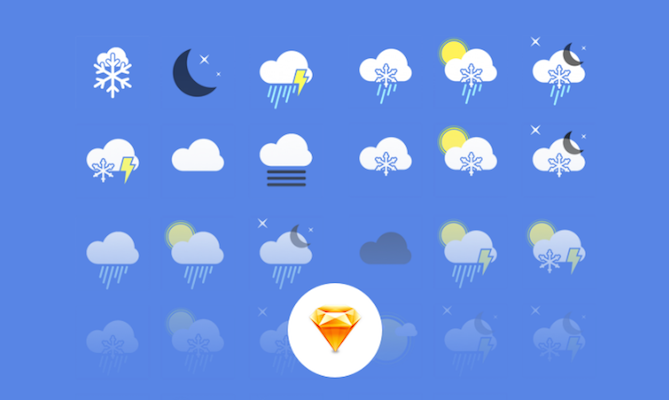 Free Weather App Icons (Sketch)