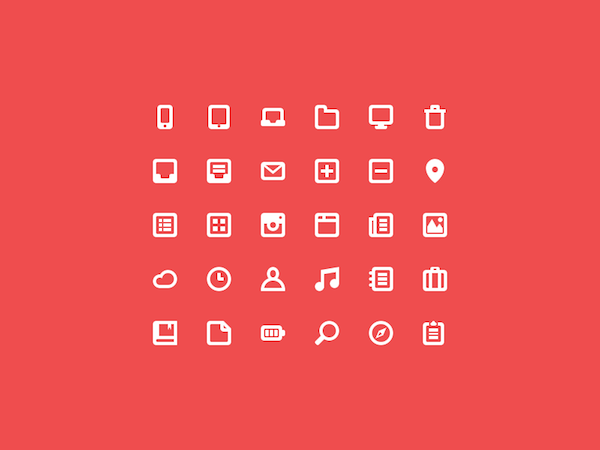 Free 30 Line Icons Set (PSD)