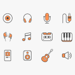 Free 12 Colorful Music Icons for Sketch