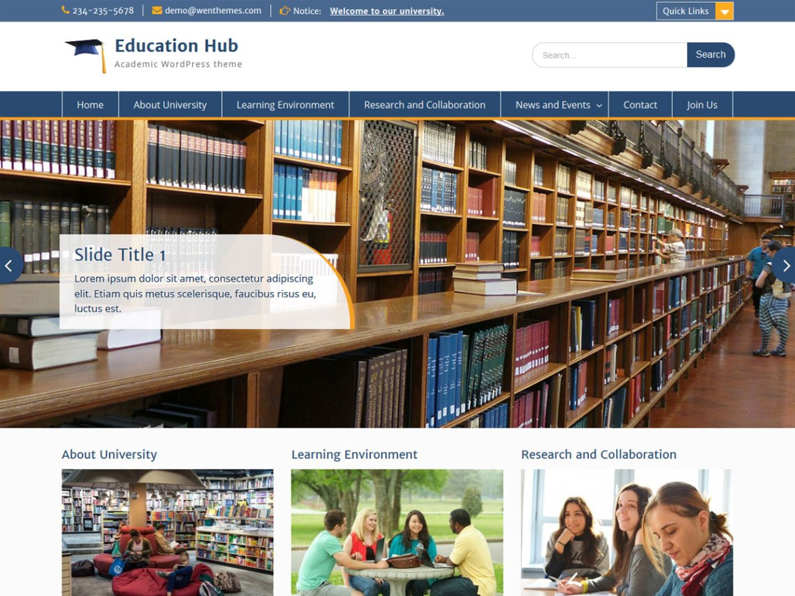 education hub wp theme psdblast