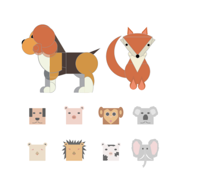 Free Geometric Animals Illustration Set (Sketch)