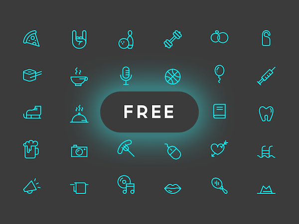 30 Free Line Icons PSD