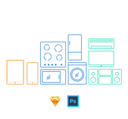 9 Free Minimal Appliance Icons PSD & Sketch