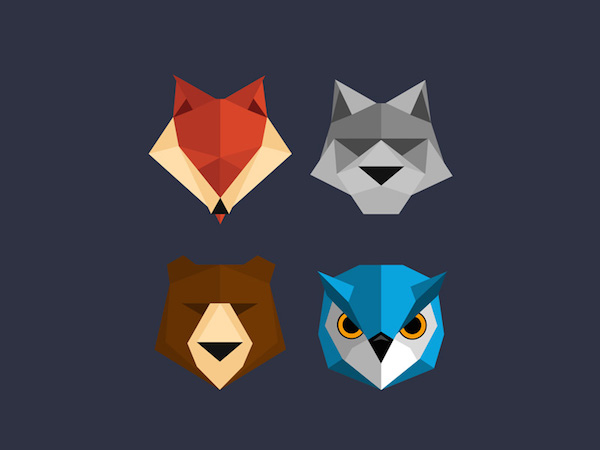 Free Polygon Animal Icons (PSD)