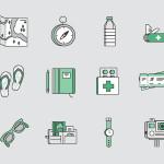 Travel Kit Icons Set (Sketch)