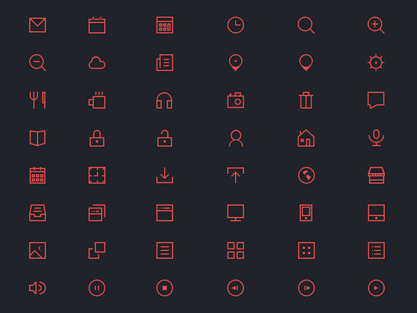 48 Free Thin Icons PSD