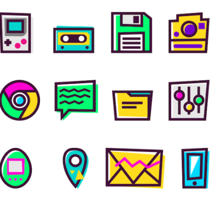 Vintage 90's Icons Set