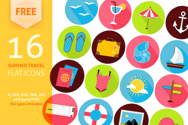 16 Free Summer Travel Icons PSD