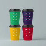 Paper Coffee Cups Mockup PSD