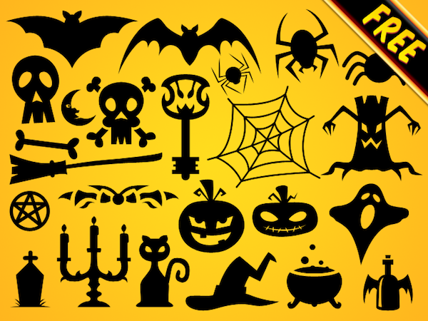 Halloween Vector Shapes Set PSD