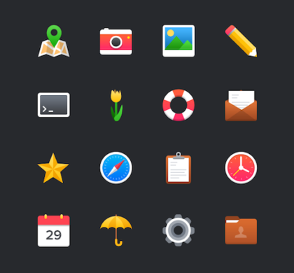 16 Free Colorful Flat Icons PSD