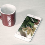 iPhone 6 and Coffee Cup Mockup PSD