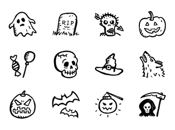 Free Spooky Halloween Icons PSD