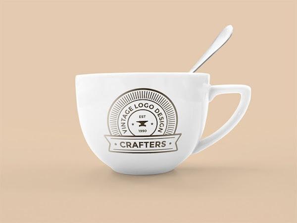 Vintage Coffee Cup Mockup PSD