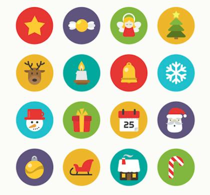 Christmas Flat Icons Set PSD