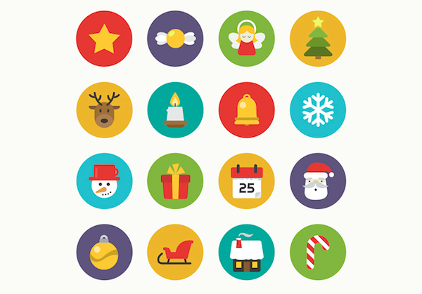 Christmas Flat Icons Set PSD