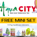 Free City Watercolor Hand Drawn Elements