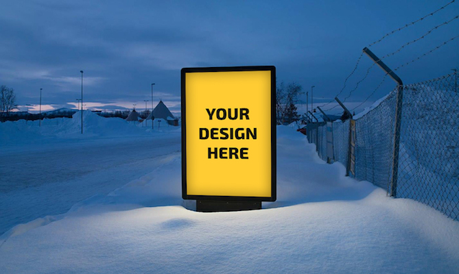 Billboard Display in Snow Mockup PSD