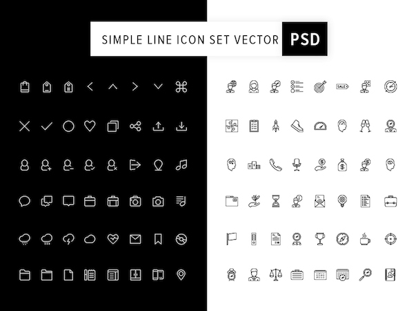 Vector Line Icons Set PSD