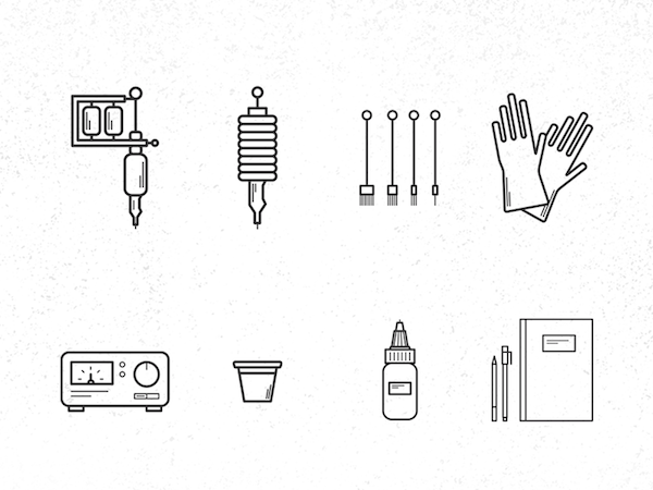 Tattoo Equipment Icons Set