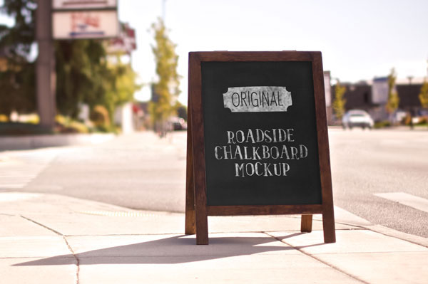 Roadside Chalkboard Display Mockup PSD