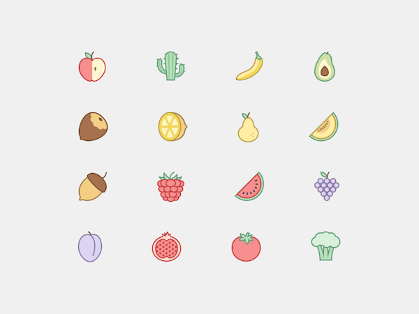 Fruit Icons Set SVG