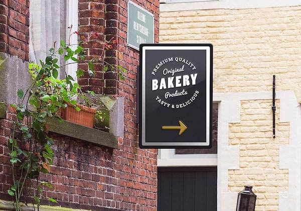 Free Wall Mounted Sign Mockup