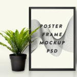 Poster Frame & Plant Mockup PSD